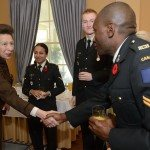 GG2014-0437-009 November 11, 2014 Ottawa, Ontario, Canada 	 Their Excellencies the Right Honourable David Johnston, Governor General of Canada, and Mrs. Sharon Johnston joined by Her Royal Highness and Vice Admiral Laurence, met with members of the Royal Canadian Hussars in Rideau Hall, on Tuesday, November 11, 2014.  As commander-in-chief of Canada, His Excellency presented Her Royal Highness with the third clasp of the Canadian Forces Decoration.  Credit: MCpl Vincent Carbonneau, Rideau Hall, OSGG